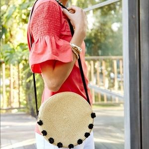 Stella & Dot straw handbag